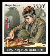 Burundi Magnus Carlsen Chess Norway IMPERF 1v Stamp MNH - Famous People