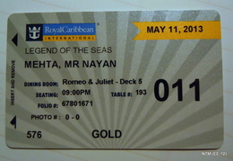 Royal Caribbean Cruise: Legend Of The Seas. Sea Pass/Room Key-Card, May 2013 - Otras Colecciones