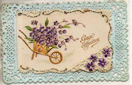 """Gage D'affection. Brouette Avec Des Fleurs. Carte """"dentelle"""" - Flowers"""