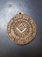 """MÉDAILLE MAÇONNIQUE : GRANDE LOGE DE FRANCE """"OR:DE PARIS"""" - Freemasonry"""