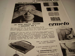 ANCIENNE PUBLICITE MONTRE ERMETO AU CHRONOMETRE D OR - Bijoux & Horlogerie