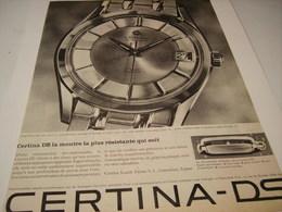 ANCIENNE PUBLICITE MONTRE  CERTINA DS - Bijoux & Horlogerie