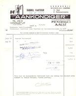 Factuur Facture - Weekblad Drukkerij De Aankondiger - Aalst 1968 - Imprimerie & Papeterie