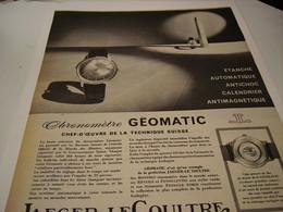 ANCIENNE PUBLICITE JAEGER LECOULTRE MONTRE GEOMATIC - Autres
