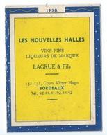 CALENDRIER DE POCHE 1958  CUSENIER Cognacs,eaux De Vie, Liqueurs AUX CAVES DE FRANCE - Non Classificati
