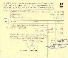 Factuur Facture - Boekhandel Story - Scientia  - Gent 1968 - Imprimerie & Papeterie