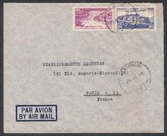 """N° 38 + PA N° 41 + Timbre Fiscal Au Verso Sur Lettre Par Avion Oblit. CAD """" Beyrputh R.P. 21/11/49 """" Pour Paris - Liban"""