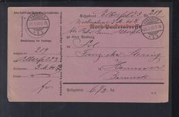 Dt. Reich Nachnahme Postadresse 1890 Hannover - Alemania