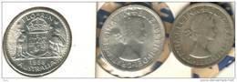 AUSTRALIA 1 FLORIN EMBLEM BIRD FRONT QEII HEAD BACK 1958 2ND TYPE CV$25AUS AUNC SILVER KM?READ DESCRIPTION CAREFULLY !!! - Monnaie Pré-décimale (1910-1965)