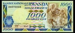 RWANDA 1000 FRANCS 1988 Pick 21 Unc - Rwanda