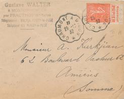256/26 - Lettre TP Semeuse Lignée 50 C PUB  Chocolat Pupier - Convoyeur Chaumont à Dijon 1932 - Publicités