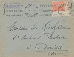 262/26 - Lettre TP Semeuse Lignée 50 C PUB  Condiments Grey Poupon Dijon - TOURS 1930 + Vignette Grande Semaine De Tours - Pubblicitari