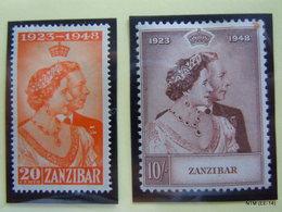 ZANZIBAR 1948 King George VI And Queen Elizabeth: Royal Silver Wedding Anniversary Issue Pair (set Of 2 Stamps) MH - Zanzibar (...-1963)