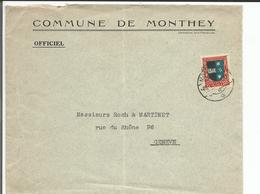 Lettre Suisse Timbre Pro Juventute 20ct 1926, Commune Monthey - Genève (28.1.1927) Pli - Pro Juventute