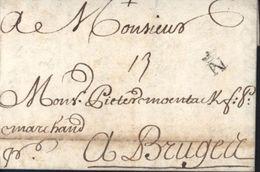 Lettre De 1713 Avec Rare N Couronné De Nantes Loire Atlantique Lenain N2 Pour Bruges Taxe Manuscrite 13 - Postmark Collection (Covers)
