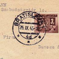 Lettre Recommandée Tchécoslovaquie Bratislava 1945 Zurich Suisse Československo - Czechoslovakia