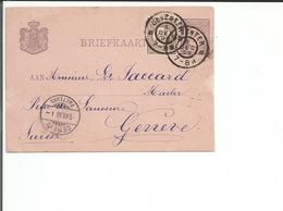 Nederland, Entier Postal + Timbre, Deventer - Genève (5.7.1896) - Entiers Postaux
