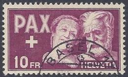 Schweiz Suisse PAX 1945 (10 Fr): Zu 274 Mi 459 Yv 417 Mit Eck-o BASEL (Zumstein CHF 250.00) Start Zu 15% ! - Suisse
