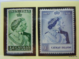 CAYMAN ISLANDS 1948 King George VI And Queen Elizabeth: Royal Silver Wedding Anniversary Issue Pair (set Of 2 Stamps) MH - Cayman Islands