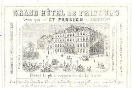 CARTE PORCELAINE GD HOTEL DE FRIBOURG - Publicidad