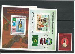 MAURITANIE Scott C169, C189, 398 Yvert BF14, BF22, 400 (1+2blocs) ** Cote 12,00 $ 1976-78 - Mauritanie (1960-...)