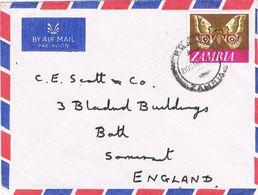 28219. Carta Aerea POOLK (Zambia) 1968 To England. Papillon - Zambia (1965-...)