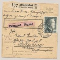 Deutsches Reich - 1942 - 1Rm + 50pf Adolf Hitler + 25pf Hindenburg Om Urgent Pakketkarte From Abrechtsdorf To Strassburg - Duitsland