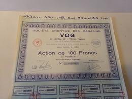 Action Au Porteur Société Anonyme Des Magasins  VOG - Magazines