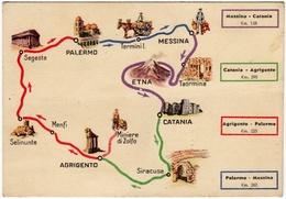 ESSOLUBE - ITINERARI MESSINA, CATANIA, AGRIGENTO, PALERMO, MESSINA - PUBBLICITA' DEL 1939 - Vedi Retro - Pubblicitari
