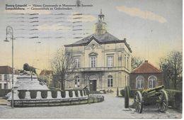 Leopoldsburg, Bourg-Léopold, Gemeentehuis En Gedenkteken, Met Postzegel 1937, Kannon En Leeuw. - Leopoldsburg (Kamp Van Beverloo)
