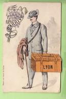 LYON - Carte Illustrateur - J'arrive à Lyon Avec Ma Malle - Carte à Système 10 Vues - 3 Scans - Lyon