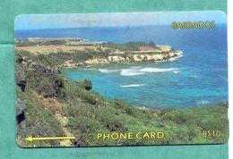 """BARBADOS: 1993 BAR-9A """"Coastline"""" No Logo. B$ 10 CN: 9CBDA. Rare (20.000ex) Used - Barbados"""