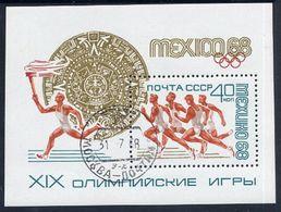 SOVIET UNION 1968 Olympic Games Block Used.  Michel Block 51 - 1923-1991 USSR