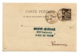 """Type Sage 10c Carte Chamois Sans """"RF"""" Société Generale Ob. 1896 Rue De Crimée Paris - Entiers Postaux"""