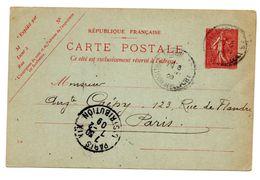 Type Semeuse Lignée 10c Carte Verte Ob. 1909 Morvillars/Paris - Entiers Postaux