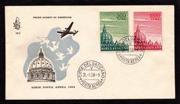1 Fdc Venetia: STATO CITTA' DEL VATICANO (1958) Serie Di Posta Aerea  Non Viaggiata - FDC