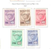 Bolivia PA 1957 Map Sud Am.La Paz  Scott.C197/201+See Scans On Scott.Page - Bolivia