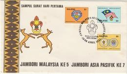 MALAISIE 1982 5th Malaysia/7th Asia Scout Jamboree At Kelantan FDC SG#235-237 - Malaysia (1964-...)