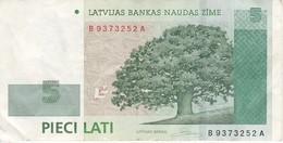 BILLETE DE LETONIA DE 5 LATI DEL AÑO 1992 (BANK NOTE) - Letonia