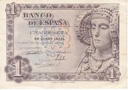 BILLETE DE 1 PTA DEL AÑO 1948 SERIE B CALIDAD MBC (VF)  DAMA DE ELCHE  (BANKNOTE) - [ 3] 1936-1975 : Régimen De Franco