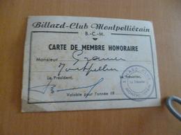 Carte De Membre Honoraire Billard Club Montpellièrain Montpellier - Montpellier