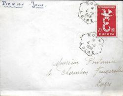 CACHET POSTAL MARQUE POSTALE  PREMIER JOUR ?? ROCHE LOIRE 42 4/11/1958 - 1921-1960: Modern Period
