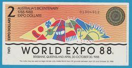 AUSTRALIA 2 EXPO DOLLARS 1788-1988 WORLD EXPO 88 No 01904912 - Fakes & Specimens