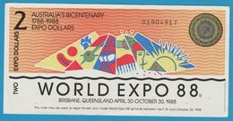 AUSTRALIA 2 EXPO DOLLARS 1788-1988 WORLD EXPO 88 No 01904917 - Fakes & Specimens