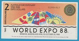 AUSTRALIA 2 EXPO DOLLARS 1788-1988 WORLD EXPO 88 No 01904917 - Vals En Specimen