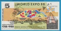 AUSTRALIA 5 EXPO DOLLARS 1788-1988 WORLD EXPO 88 No 50427018 - Finti & Campioni