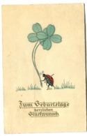 Coccinelle Marienkäfer Ladybird Vier Klee For Clover Quatre Trèfles Art Nouveau-like Artist Postcard Sent 1933 - Animaux & Faune