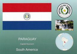 1 AK Paraguay * Die Flagge, Das Wappen, Die Position Von Paraguay In Südamerika Und Eine Ansicht Von Paraguay - Paraguay