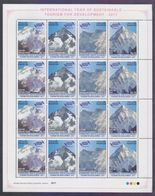 PAKISTAN 2017 MNH, UNWTO Int'l Year Of Sustainable Tourism For Development, K2 Mountains Nangaparbat Gasherb, Full Sheet - Pakistan