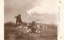 """B. Gelibert. Deers Hunting"" Fine Art, Painting Salon De Paris 1912 Postcard - Pintura & Cuadros"